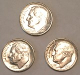 1955 P & D & S SILVER Brilliant Uncirculated Roosevelt Dimes