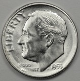 1955 S SILVER Gem Brilliant Uncirculated Roosevelt Dimes