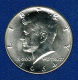 1964 Kennedy Brilliant Uncirculated Silver Half Dollar CP2000