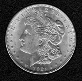 1921 Silver Brilliant Uncirculated Morgan Dollar - Actual Coin Pictured