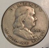 1953-D Silver Franklin Half Dollar - Actual Coin Pictured