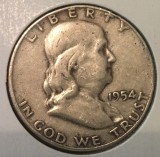 1954-D Silver Franklin Half Dollar - Actual Coin Pictured