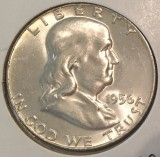 1956 Silver Brilliant Uncirculated Franklin Half Dollar - Actual Coin Pictured