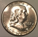 1957 Silver Brilliant Uncirculated Franklin Half Dollar - Actual Coin Pictured