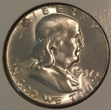 1957 Silver Uncirculated Franklin Half Dollar - Actual Coin Pictured