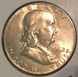1962-D Silver Brilliant Uncirculated Franklin Half Dollar - Actual Coin Pictured