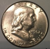 1962 Silver Brilliant Uncirculated Franklin Half Dollar - Actual Coin Pictured