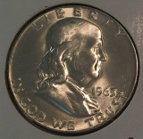 1963 Silver Brilliant Proof Franklin Half Dollar - Actual Coin Pictured