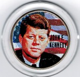 John F Kennedy Colorized Massacusetts Statehood Quarter