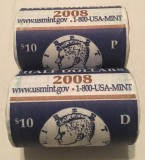 2008 Kennedy Two-Roll Set Sealed US Mint Box P & D Rolls included
