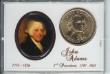 2007 D Adams Presidential Dollar in coin holder