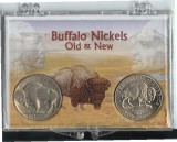 Old and New Buffalo Nickel in nice Holder