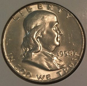 1958 Silver Proof Franklin Half Dollar - Actual Coin Pictured