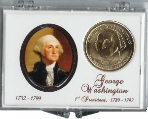 2007 D Washington Presidential Dollar in coin holder CP4001