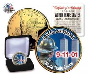 World Trade Center 9/11 4th Anniversary 24KT Gold Plated New York Statehood Quarter