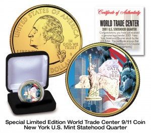 9/11 World Trade Center Silver Hologram 24K Gold Plated U.S. New York Statehood Quarter Colorized