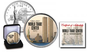 9/11 World Trade Center NY Statehood U.S. Quarter Colorized
